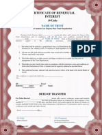 Units of Beneficial Interest Certificate