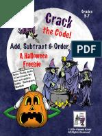 HalloweenMathPracticeAddSubtractOrderDecimalsCracktheCode