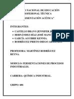 Reporte de Practica Fermentacion Acetica Conalep-X 606