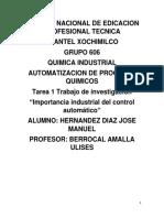Importancia Industrial del control automatico trabajo del conalep-x