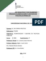 Programa Analitico y de Examenes Finales Para Politicas Publicas