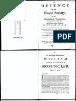 Wallis - A defence of the Royal Society