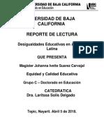 Desigualdades Educativas en America Latina - Reporte de Lectura 2 - Johanna Ivette Suarez Carvajal