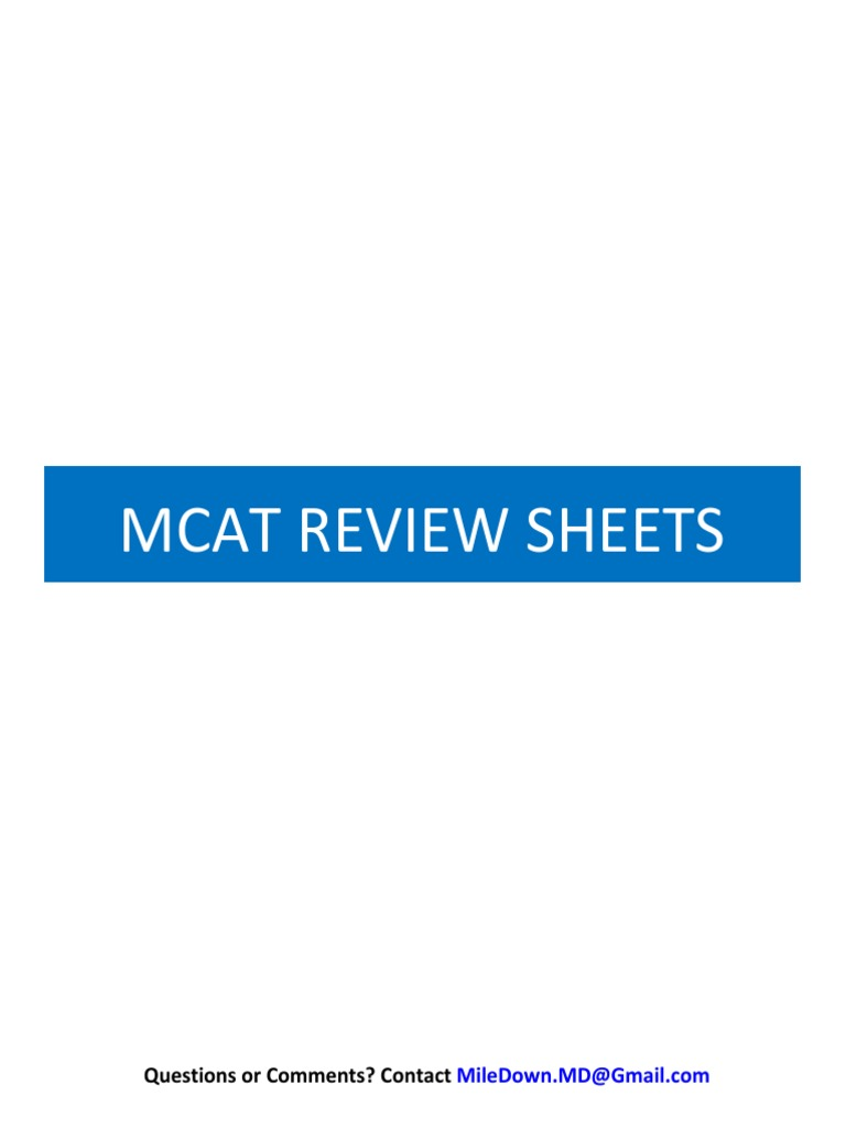 Mcat Review Sheets Pdf Covalent Bond Gases