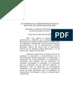 Ley Organica de La Admin is Trac Ion Publica Municipal de N.L.