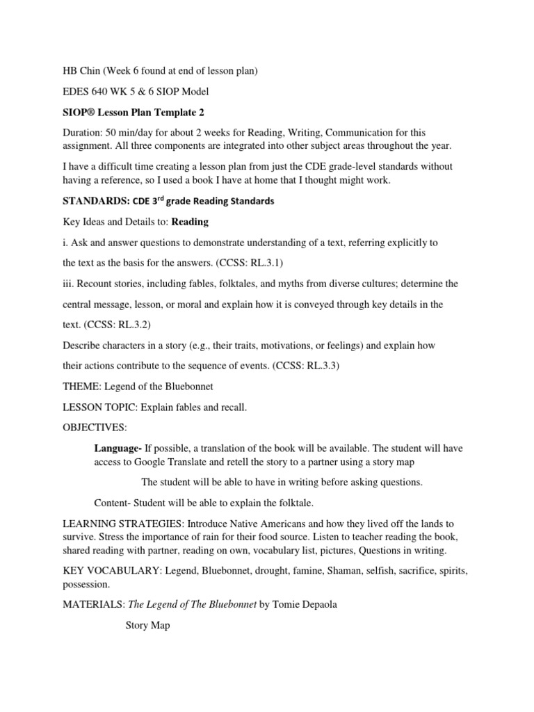 Edes 640 Wk 5 6 Siop Lesson Plan Lesson Plan Speech