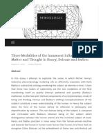 Three Modalities of the Immanent Infinity