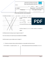 Teste Matemática 8 Função Afim