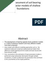 Quality Assessment of Soil Bearing Capacity Factor Models