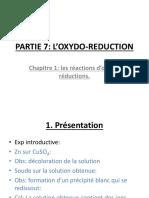PARTIE 7 chapitre 1 les équations d'oxydo réduction