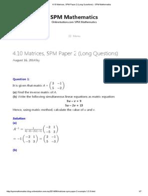 4 10 Matrices Spm Paper 2 Long Questions Spm Mathematics Pdf System Of Linear Equations Matrix Mathematics