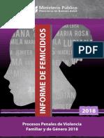 Informe Femicidios y Procesos Penales de Violencia Familiar y de Genero 2018