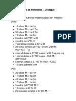 Lista de MaterialesDesagüe