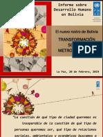 presentacion del informe de desarrollo humano para bolivia, 2019