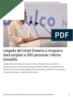 07-02-2019 Llegada del Hotel Dreams a Acapulco dará empleo a 500 personas - Héctor Astudillo.