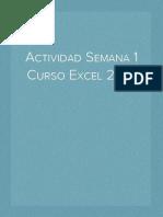 Actividad  Semana 1 Excel 2016