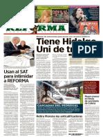 Primera plana de Reforma acusando a AMLO de usar al SAT