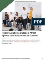 08-02-2019 Héctor Astudillo agradece a AMLO apoyos para estudiantes de Guerrero.