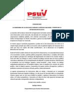Comunicado Del PSUV Maniobra de La OEA Busca Minar Diálogo en Venezuela 30-05-2016