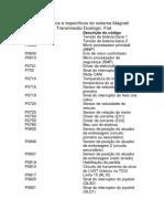 Códigos Genéricos e Específicos Do Sistema Magneti Marelli CFC319 Transmissão Dualogic