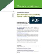 Relación Entre Universidad y Estado Argentino
