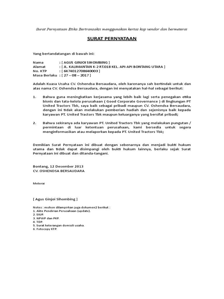 Surat Pernyataan Etika Bertransaksi 1