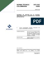 NTC-ISO 10006 (2003) - Sistema de Gestión de la Calidad. Directrices para la Gestión de la Calidad en Proyectos..pdf