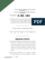 House Resolution 183 Anti-Semitic Bill