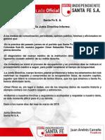 Comunicado Oficial Omar Sebastián Pérez
