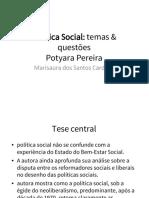 (Fichamento) Politica Social - Temas e Questoes (Potyara Pereira)