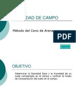 Densidad de Campo-método de Cono de Arena