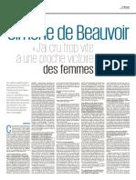 """Simone de Beauvoir - """"J'ai cru trop vite à une proche victoire des femmes"""""""