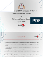 Profitability NPL Analysis of United Commercial Bank