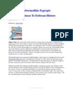 Gebremedhin Zegergis Eyewitness to Eritrean History