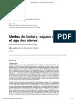 Modes de Lecture, Espace Collectif Et Âge Des Élèves