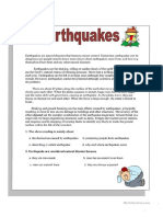 Earthquakes Reading Comprehension Exercises