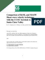 Comparison of ReMi, and MASW Shear-wave velocity techniques