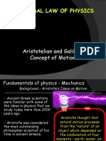 5.0 Aristotelian vs. Galilean Motion