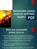 Renewable Power Sources as a Solution for Power