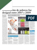 Disminución de la pobreza fue desigual entre 2007 y 2009