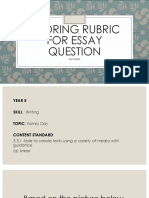 Scoring Rubric for Essay Question