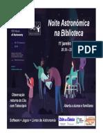 Cartaz Noite Astronomica na Biblioteca