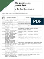 DTC_ Códigos de Falha Da Opel (Motores a Gasolina)