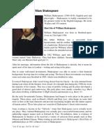Short Biography William Shakespeare