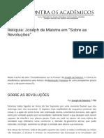 Rela Quia Joseph de Maistre Em a Sobre as Revolua