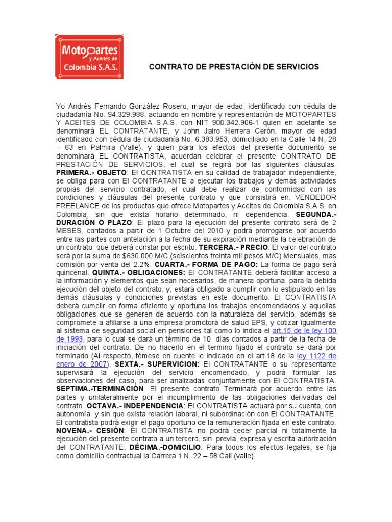 Vistoso Plantilla De Contrato Independiente Regalo - Colección De ...