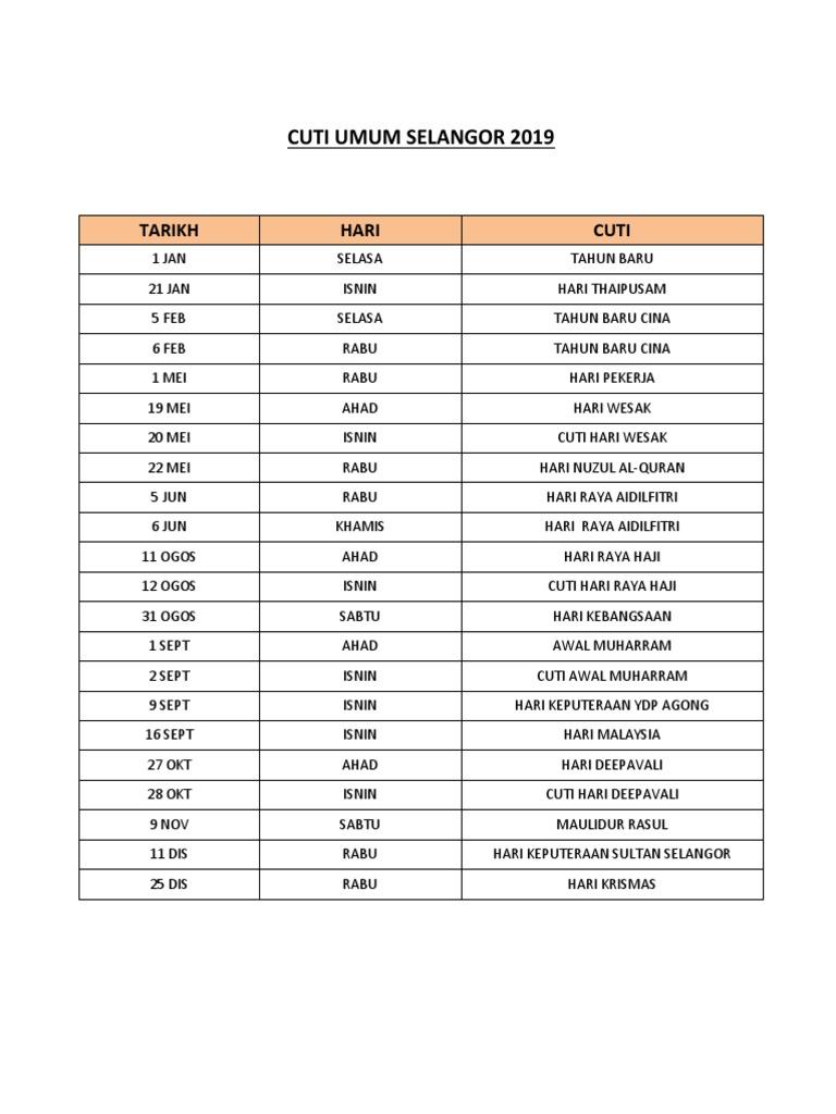 Cuti Umum Selangor 2019