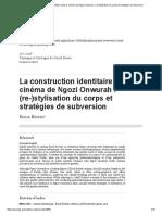 La Construction Identitaire Dans Le Cinéma de Ngozi Onwurah_ (Re-)Stylisation Du Corps Et Stratégies de Subversion