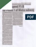 Manila Bulletin, Mar. 11, 2019, Govt to spend P 1 B for Phase 1 of Metro subway.pdf