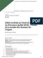 Didon Et Enée Au Festival d'Aix-En-Provence (Juillet 2018)_ Purcell Et La Révolte Des Femmes de Chypre
